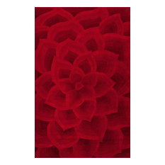 Hand-Tufted Floral Transitions Area Rug, Red, 5'x8'