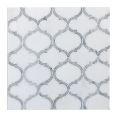 "9""x10"" Marrakech Thassos White Waterjet Mosaic, Set of 5"
