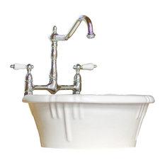 Modern Round Bowl Exposed Rim Sink Package Vitreous China Porcelain Enamel White