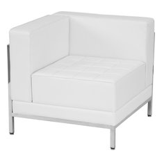 Flash Furniture   Modern Contemporary Melrose White Leather Left Corner  Chair   Armchairs And Accent Chairs