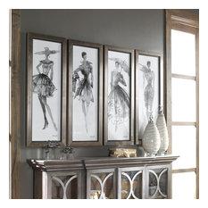 """Uttermost """"Fashion Sketchbook"""" 4-Piece Art Set, 15.75""""x39.75"""""""