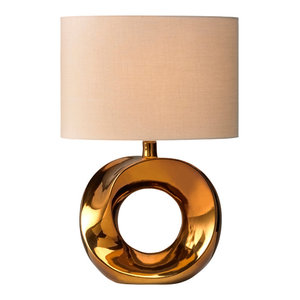 Polo Table Lamp, Beige and Copper