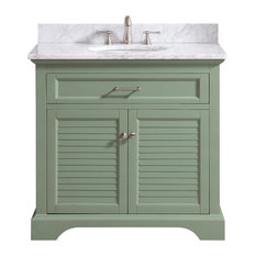 """Avanity Colton 37"""" Vanity Combo, Basil Green With Carrara White Marble Top"""