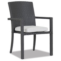 Sunset West Solana Dining Chair With Arm With Cushions, Cast Silver