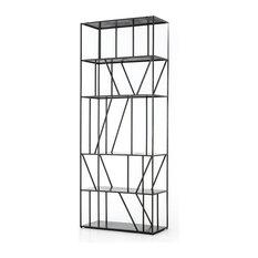"82"" L Pirro Bookcase Open Shelf Solid Iron Gunmetal Finish 5 Shelf Modern"