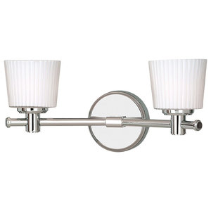 Modern Double Bathroom Wall Light, White Glass