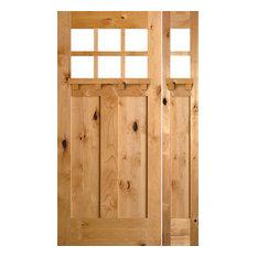 """Knotty Alder Craftsman Door, R Sidelight, 36""""x80""""x1.75"""", R-Hand"""