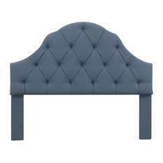 Scalloped Tufted King Headboard In Thames River Blue