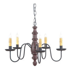 Country Inn Wooden Chandelier in Americana Colors, Plantation Red