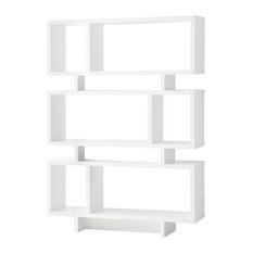 Home Office Reversible Geometric Bookcase, White