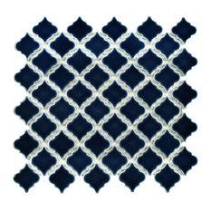 "12.38""x12.5"" Antaeus Porcelain Mosaic Floor/Wall Tile, Midnight"