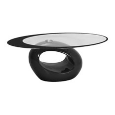 Fab Glass And Mirror   Stylish Oval Shape Coffee Table, Black   Coffee  Tables