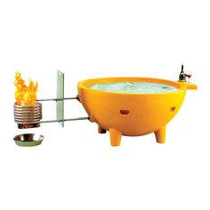 Alfi Brand Round Fire Burning Portable Outdoor Light Blue Fiberglass Soaking Hot Tub Hot