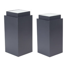 Modern Square Wooden Pedestals, 2-Piece Set