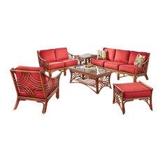Bali 6-Piece Living Room Furniture Set Brown Clemens Noir Fabric