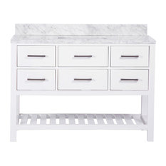 "48"" Belvedere Traditional Freestanding White Bathroom Vanity With Marble Top"