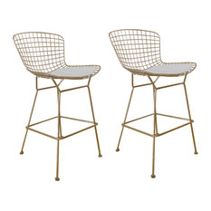 Gold Shuttle Stools Set Of 2 Bar Height