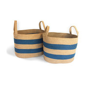 Oval Laundry tote Basket With Loop Handles, Set of 2