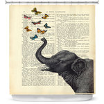 Shower Curtain Unique From DiaNoche Designs By Mad Memento Elephant Butterflies