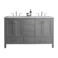 Aberdeen Bathroom Vanity With Carrera Countertop and Double Square Sinks, 60""