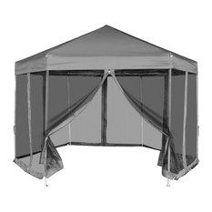 Hexagonal Pop-Up Marquee With 6-Sidewalls, Grey, 3.6x3.1 m