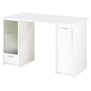 Bureau Desk With Shutter Compartments, White Body, White Front