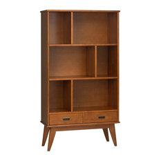 Simpli Home Ltd.   Draper Mid Century Solid Hardwood Wide Bookcase And  Storage Unit,