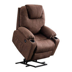 Recliner Chair With Side Pockets And Cup Holders Heater And Massager Coffee