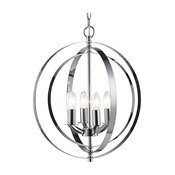 Chrome Frame Orb Lighting Fixture, Candle Light Bulbs