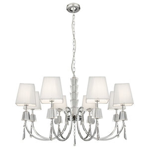 Portico 8-Arm Chrome and Glass Light With White String Shade