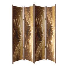 """""""Fancy Brass"""" Folding Room Partition, Cedar"""