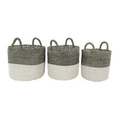 Large Round Gray and White Color-Blocked Seagrass Baskets, Set of 3