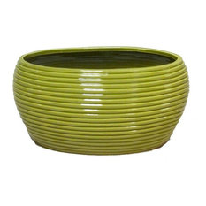 Contemporary Oval Pot With Horizontal Line Indents, Lime Green
