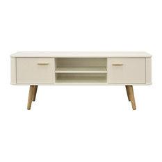 Scandinavian Style Wide TV Cabinet, Oak and White