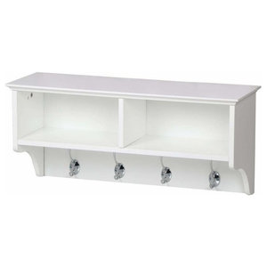 Modern Wall Mounted Clothes Rack, White Finished Wood With 4-Hook and Shelves