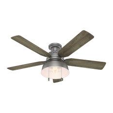 """Hunter Fan Company  52"""" Mill Valley Ceiling Fan With Light, Matte Silver"""