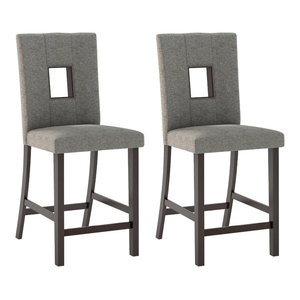 Bistro Dining Chairs, Gray Sand Fabric, Set of 2