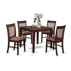 5-Piece Kitchen Table Set Square Table 4 Dining Chairs Mahogany With Cushion