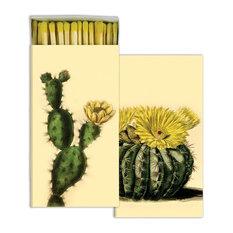 Flowering Cactus Vintage Botanical Matches, Set of 10 Green Yellow