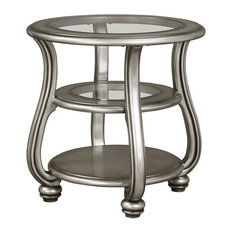 ashley furniture homestore round chairside table in silver finish side tables and end tables