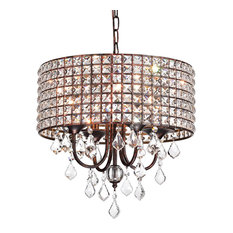 4-Light Antique Copper Square Beaded Round Drum Shade Chandelier With Crystals
