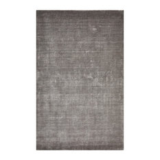 Lodhi Contemporary Solid Loom Knotted Area Rug, Silver, 5'x8'