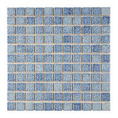 "SomerTile 12""x12"" Reservoir Porcelain Mosaic Floor and Wall Tile, Blue"