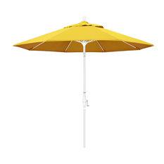9' Fiberglass Umbrella With Collar Tilt, White, Olefin, Lemon