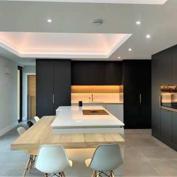 Matt Graphite and Pale Grey Breakfasting Kitchen and Family Room