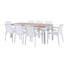 Timber White 9-Piece Dining Set, White