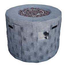 "GDF Studio Kaur Outdoor 32"" Natural Gas-Burning Lightweight Concrete Fire Pit, G"
