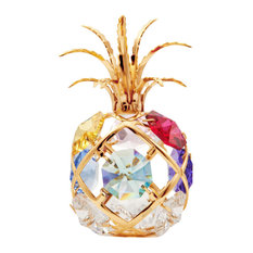24K Gold Plated Mini Pineapple Ornament With Colored Crystals