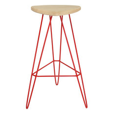 Madison Bar Stool, Red, Maple