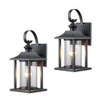 Textured Black Outdoor Patio Exterior Light Fixture, Set of 2, 23-0414